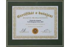 Certifikát k bojové připravenosti  ÚU NATO Response Forces 2015