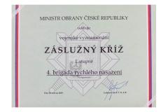 Certifikát Záslužný kříž I. stupně